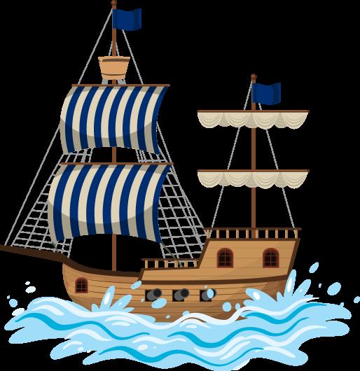 Рисованый деревянный двухмачтовый парусный корабль на волнах. На передней мачте паруса опущены, паруса в вертильную бело-синюю полоску. На корабле выставлены три бортовые пушки.