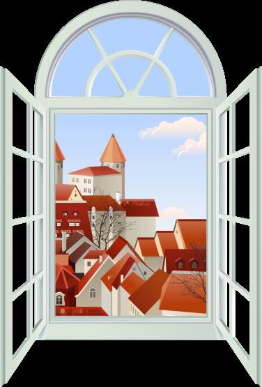 """Рисованное изображение """"Окно в Европу"""". В открытом окне виднеются дома с красными крышами."""