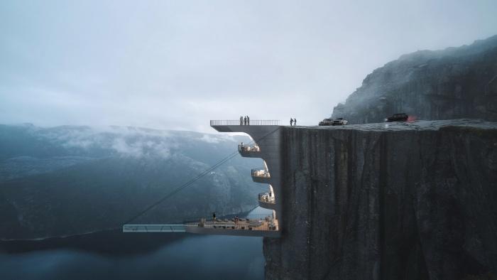 Стеклянный бассейн над пропастью: Проект самого экстремального в мире отеля